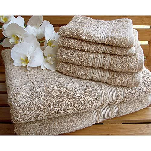 Charisma Plush Towels Bundle | Includes: 2 Luxury Bath Towels, Hand Towels & Washcloths | Quality, Ultra Soft Towel Set | 6 Pieces (Tan)