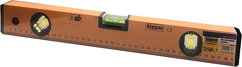 Kippen 3019B2 - Nivel de aluminio de 3 burbujas de 40 cm con base fresada y escala métrica