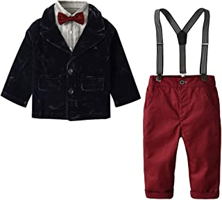 Boys Suits Set 5 Piece Clothes Set Vest + Pants + Shirt + Bow Tie + Brooch Little Boy Formal Dress Suit Outfit Set