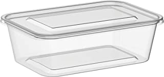 Microwavable Food Container Clear Rectangular - 750ml (50)