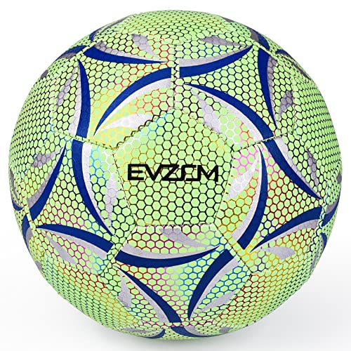 EVZOM Soccer Ball Luminous Official Match Game American Soccer Ball Size 4 for Boys, Girls, Kids Ages 8 to 12 Years Old Outdoors Indoors Sports Ball Training