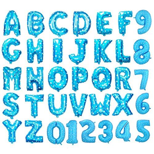Ballons gonflables en forme de lettres de l'alphabet et de chiffres - En aluminium - 40,6 cm - Pour fêtes, mariage - Pour écrire des noms, bleu, Letter E