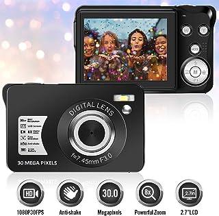 Camara de Fotos Cámara de Fotos 30MP LCD TFT de 27 Pulgadas Zoom Digital 8X con Cámara de Video con Cámara de Videocamaras Cámara Compacta y Portátil para Selfies