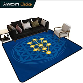 Egyptian High Traffic Area Rug Kids, Spiritual Symbol Over Flower of Life Ancient Abstract Secret Ratio Pattern Fashionable High Class Living Dinning Room, (8'x 10') Violet Blue Yellow