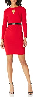 Calvin Klein womens Petite Long Sleeve Belted Sheath With Cut Out Front Dress Dress