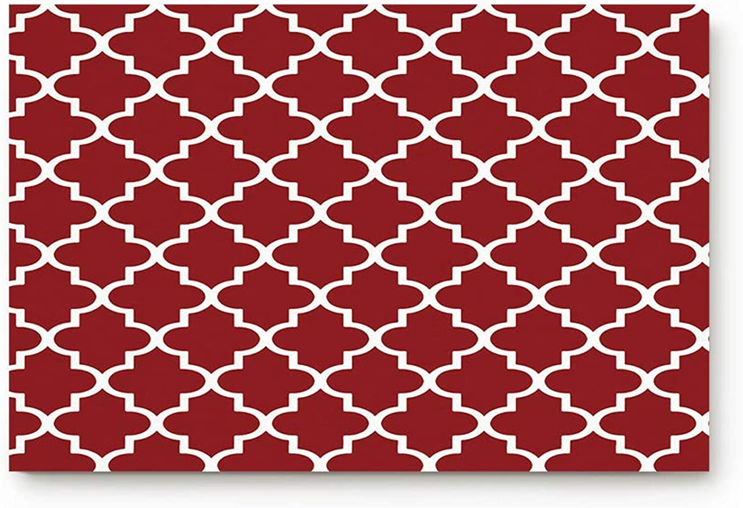 TAOGAN Doormat Rug Non-Slip Rubber Backing Geometric Rhombus Pattern Red White Indoor Decorative Mats Front Entrance Outside Patio Bedroom Bathroom Kitchen 20 x31.5