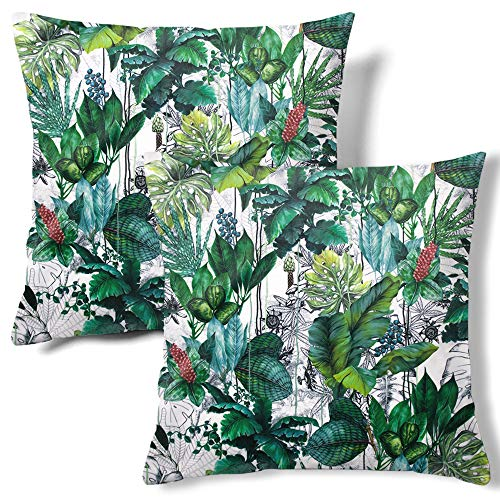 HMS Happy Memories Velvet Pillow Cases Square Decorative Throw Pillow Cover 45x45cm(18x18 Inch) Set of 2 for Couch Sofa Bed Living Room Bedroom (Leaf Tropical)