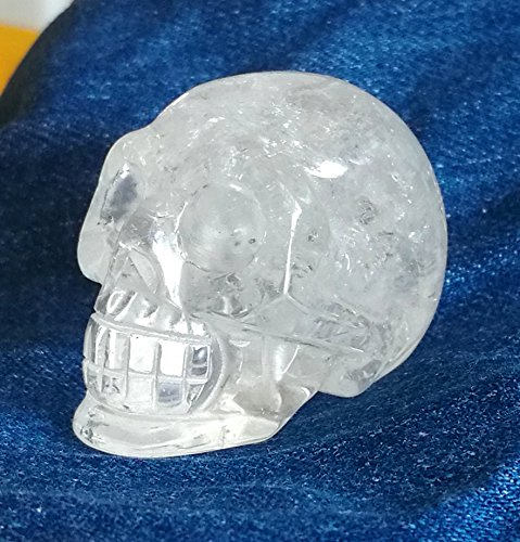 1.9'Hand Carved Natural Gemstone Carving Rock Crystal Skull Statue Figurine Collectible (White Quartz)