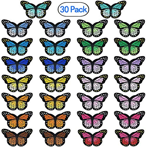 PGMJ 30 Pieces Butterfly Iron on Patches 15 Different Colors Embroidery Applique Patches for Arts Crafts DIY Decor, Jeans, Jackets, Kid's Clothing, Bag,Caps,Arts Craft Sew Making