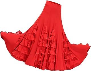 D DOLITY Jupe de danse flamenco rouge