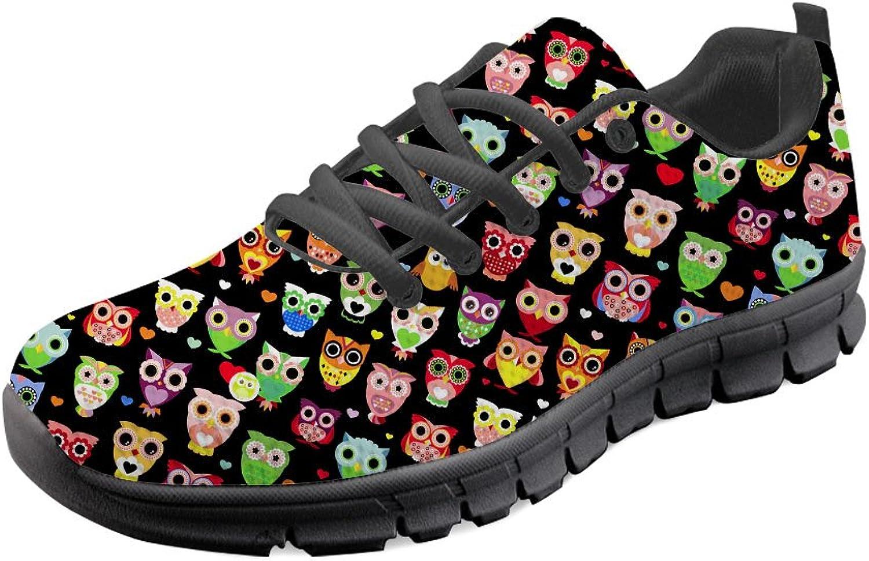 HUGS IDEA Cartoon Owl Pattern Casual Running Sneakers Women Girl Lace-up Mesh Walking shoes