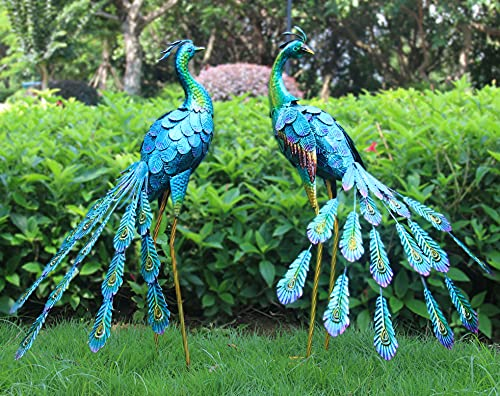 Oritty Peacock Garden Statues for Outdoor, Metal Peacock Yard Art for Home Backyard Patio Lawn Decoration, Bird Garden Sculptures & Statues, Set of 2