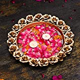 The Purple Tree Beautiful Handcrafted Rose Urli Bowl for Diwali (Pack of 1) Decorative Bowl for Floating Flowers and Tea Light Candles Home , Traditional Urli Bowl , Diwali Urli , Gift for Diwali