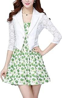 Womens 3/4 Sleeve Slim One Button Fashion Hollow Shawl Blazer Coat
