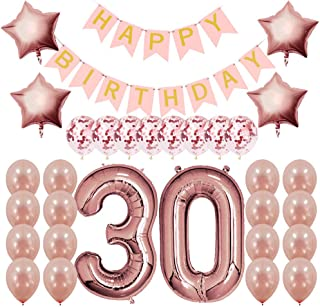 Rose Gold 30th Birthday Decorations Party Supplies Gifts for Women (Her), Dirty 30 Birthday Supply, Number 30 Foil Balloons,Birthday Banner,Confetti & Latex Balloons