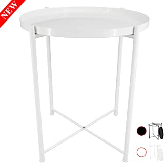 Ovicar Tray Metal End Table, Round Side Accent Coffee Table, Small Stylish Sofa Snack Table with Anti-Rust and Waterproof Metal Frame for Living Room, Bedside, Outdoor & Indoor, White