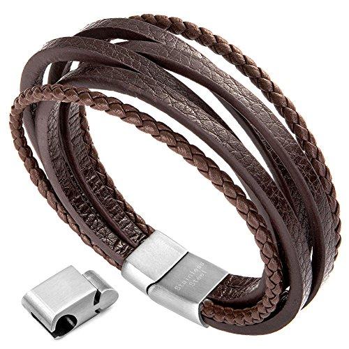 murtoo Herren Armband Echtleder Armband schwarz braun geflochten mit Magnet Verschluss (braun Leder,Silber Glied,22,5cm)