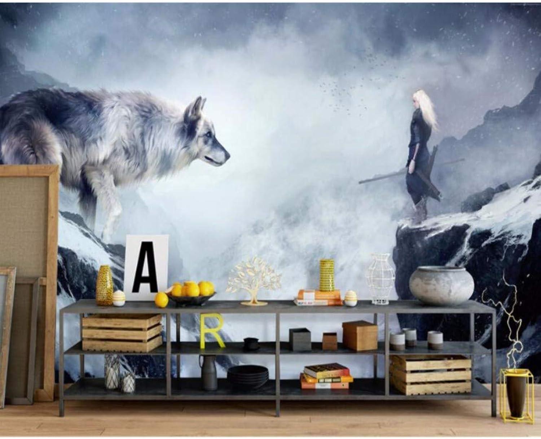 Yssyss Papel Tapiz 3D Animal Lobo Personaje Papel Tapiz Mural Salón Sofá Decoración-200(H)140(W) Cm