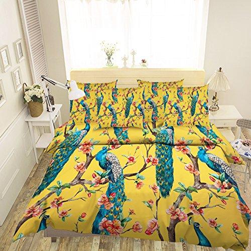 Just Contempo 343 Parure de lit avec housse de couette et taies d'oreiller Motif paon 3D Bleu/vert, vert