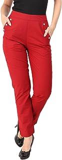 Makxziya Women's Maroon Regular Fit Rayon Trouser