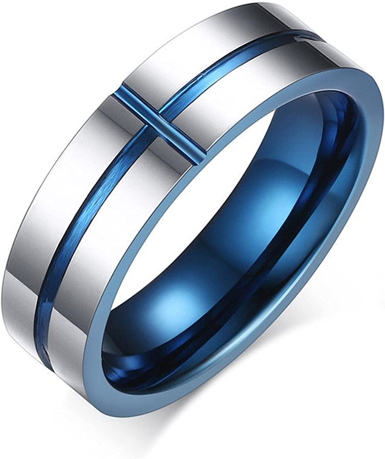 Tungsten Carbide Rings 6mm Wedding Bands Men's Jewelry Cross Ring