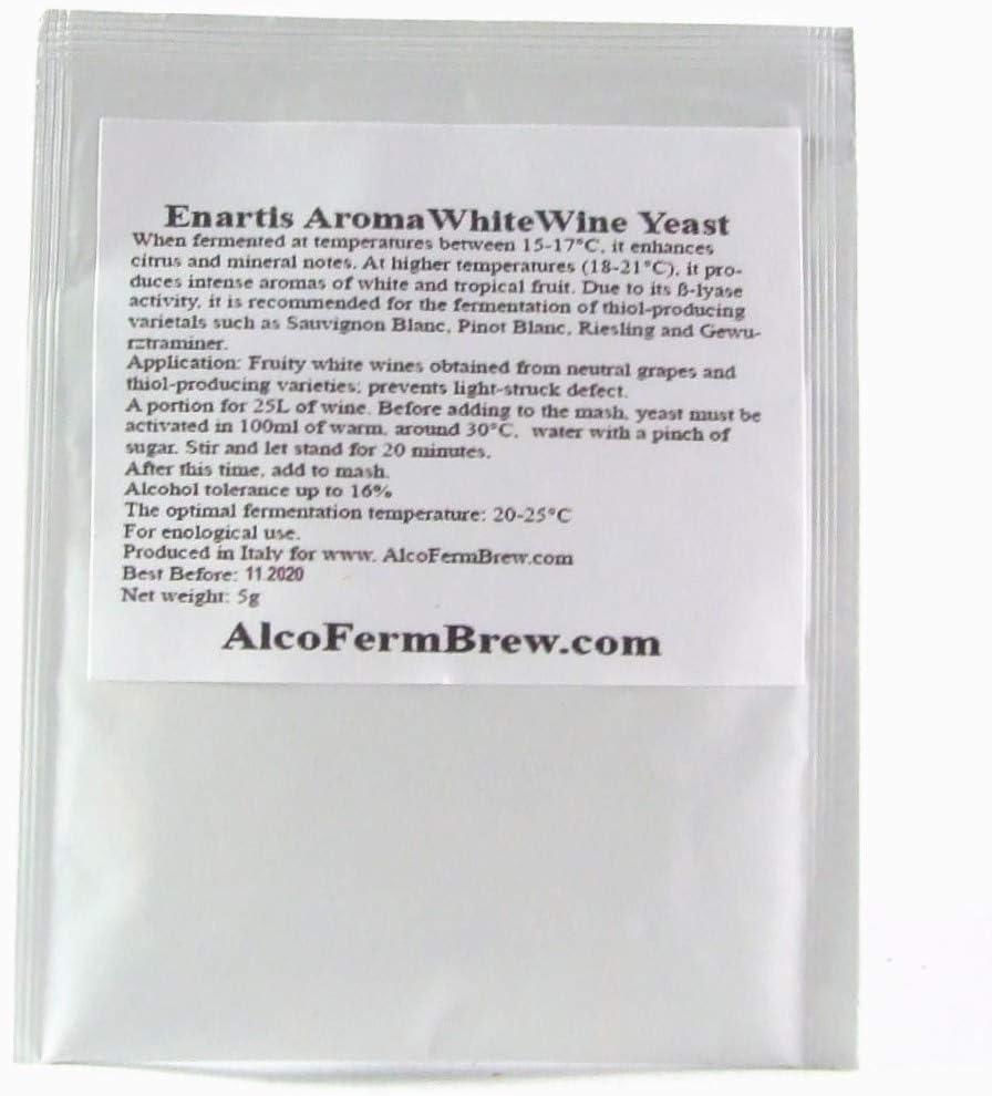 Levadura para vino blanco 25 L, para fermentación, hidromiel, sidra, cerveza, alta graduación