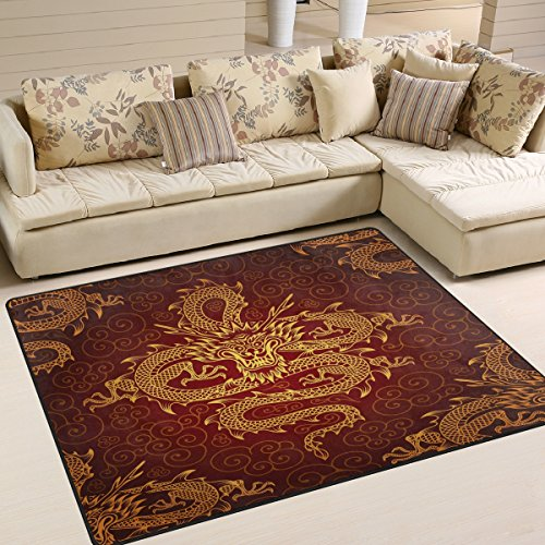 Use7 Tapis motif dragon chinois pour salon, chambre à coucher 203 cm x 147,3 cm