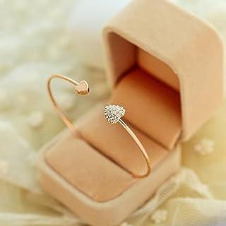Elistelle - Bracciale in argento con doppia amore, apertura a forma di cuore, placcato oro a