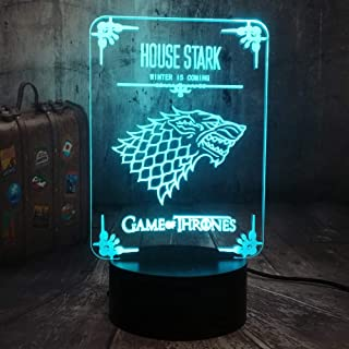 Game of Thrones Winter is Coming House Stark of Winterfell Direwolf 3D LED Acrylic Optical Illusion Night Light A Song of Ice and Fire Home Room Decor Cool Table Lamp(House Stark)