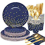 """175pcs Royal Blue Gold Dinnerware Party Set Disposable Navy Blue & Gold Dots Party Plates-Include 9"""" Paper Dinner Plates,7"""" Dessert Plates,Cups,Napkins,Knife,Fork,Spoon for Birthday,Baby Shower Party"""