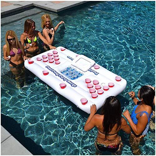 MUANSER Aufblasbare Bier-Tischtennisplatte - Schwimmbecken-Partykahn Schwimmende Bier-Tischtennis-Trinkplatte, 6 'Schwimmer, Schwimmbecken-Party-Spielfloß und Lounge