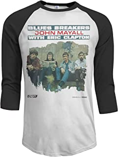 John Mayall with Eric Clapton Blues Breakers Round Men's Casual Raglan Baseball T-Shirt 3/4 Sleeve Black