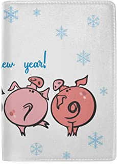 Funny Piglets 2019 Happy New Year Blocking Print Passport Holder Cover Case Travel Luggage Passport Wallet Card Holder Made with Leather for Men Women Kids Family