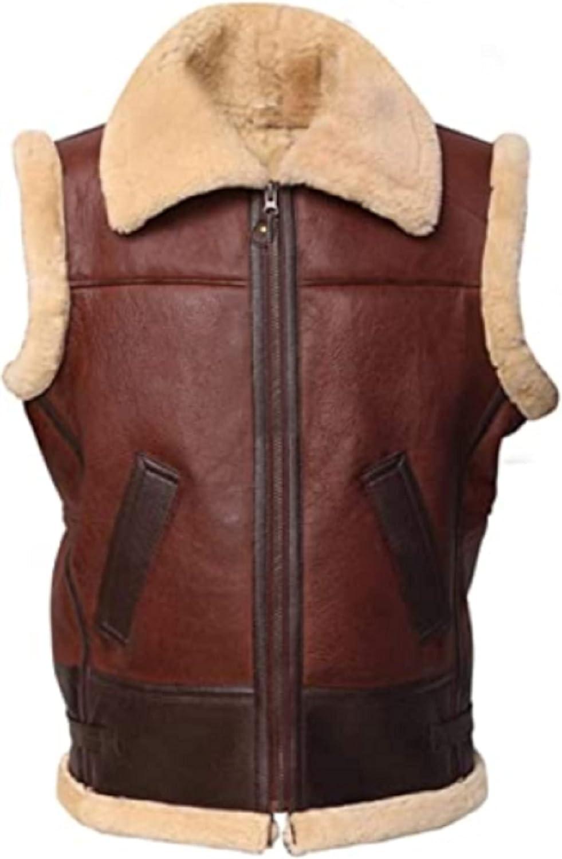 Brown Aviator Vest Bomber Short G2 Real Shearling Sheepskin Leather Jacket