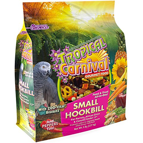 F.M. Browns Tropical Carnival Gourmet Bird Food for Parrots, African Greys, and Conures Under 13, Probiotics for Digestive Health, Vitamin-Nutrient Fortified Daily Diet - 5 lb.