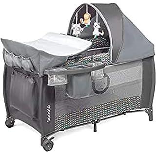 Lionelo Sven Plus 2 in 1 Baby Bett Laufstall Baby ab Geburt bis 15 kg Wickelauflage Moskitonetz luftige Seitenwände mit Seiteneingang Tragetasche zusammenklappbar Grey Scandi