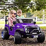 Trail Explorer 12V Power Children Ride-On Car Truck with R/C Parental Remote + EVA Foam Rubber LED Wheels + Leather Seat + MP3 Music Player + FM Radio with Wireless Streaming + LED Lights (Purple)