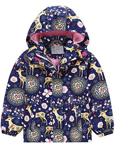 Echinodon Mädchen Gefütterte Outdoorjacke Wasserdicht/Winddicht/Warm Regenjacke Funktionsjacke Kinder Wanderjacke Jacke B 134-140