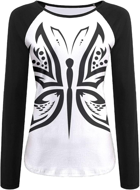 b17b71dd4 Butterfly Women's Long Sleeves Baseball Tshirt 3D Digital Casual Top ...