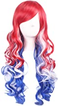 Long Wavy Cosplay Wig Womens Costume Harajuku Party Wig (Red Blue and White)