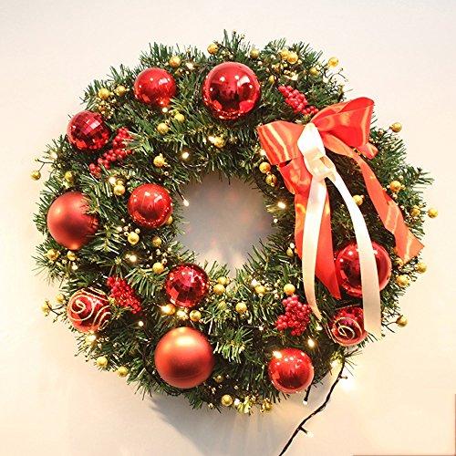 50cm décoration de couronne de Noël ornements de porte en rotin de Noël sans lumières ( Couleur : Rouge , taille : 40 cm )
