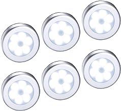 6 Pieces Motion Sensor Light, Cordless Battery-Powered LED Night Lighting, Stick-anywhere Closet Stair Hallway Puck Light...