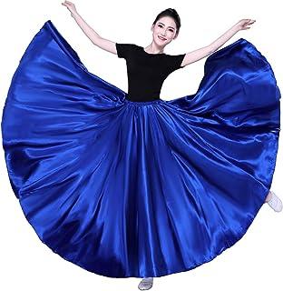 SANCAN Women's 540 Degree 20 Yard Swing Wing Long Satin Skirt for Dance Performance Practise Halloween Cosplay Long Length