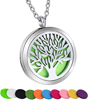 SWOPAN Essential Oil Diffuser Necklace Aromatherapy Locket Pendant Stainless Steel Necklaces for Women Men Aroma Therapy Perfume Necklace Charms Pendant Hypo-Allergenic Jewelry with 10 Refill Pads
