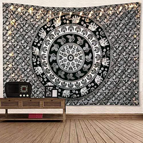 N/A Tapiz de Dormitorio Alfombraroja paraColgar en la Pared con Elefante, Estera de Yoga para decoración de Dormitorio en casa, poliéster Mandala Cuadrado