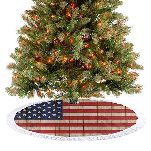 Falda para árbol de Navidad, 4 de julio, valla de madera dañada, símbolo de la libertad, decoración de fiesta de Navidad, para dar a tu árbol de Navidad un toque extra crema, rojo, azul marino, 92 cm