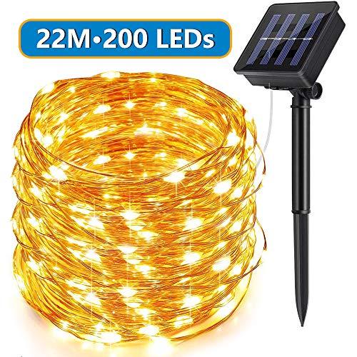 Solar Lichterkette Aussen, ECOWHO Warmweiß 22M 200 LEDs Kupferdraht lichterkette, 8 Modi IP65 Wasserdicht Solarlichterkette, Außen Lichterketten für Garten Weihnachten Deko
