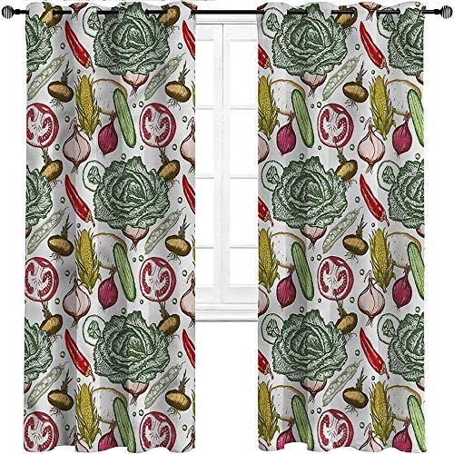 Window Curtains, Vegetables Indoor/Outdoor UV Protectant Grommet Drapes, Onions Red Pepper Kale Set of 2 Panels, 108 Widthx 96 Length