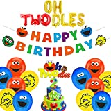 Oh Twodles Balloons Sesame Second Birthday Street Party Decorations Kit Elmo Cake Topper 2nd Banner Party Supplies Decorations Photo Prop for Sesame Theme Boy Baby Girl Bday