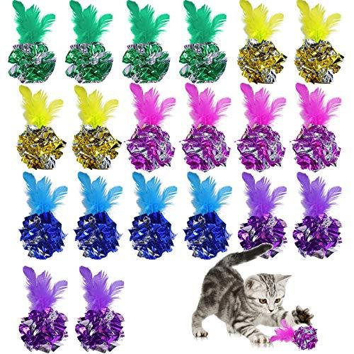 AvoDovA 20 Stück Katze Spielzeug Bälle und Feder, 6CM Bunte Crinkle Bälle Katzen Spielzeug Bälle, Kitten Mylar Bälle, Kätzchen Spielzeug interaktives, Knisternde Bälle für Katze Hunde Kitty